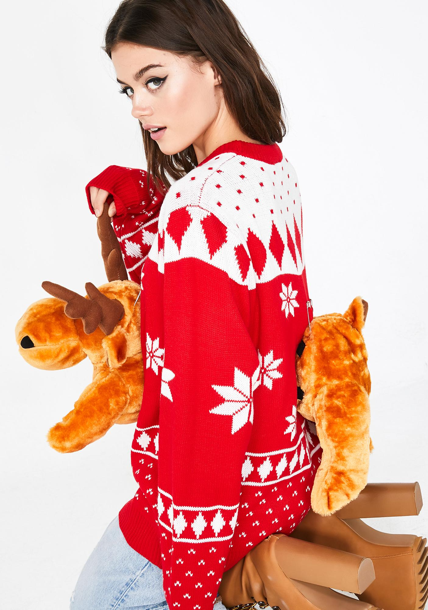 Lit 3D Christmas Moose Sweater