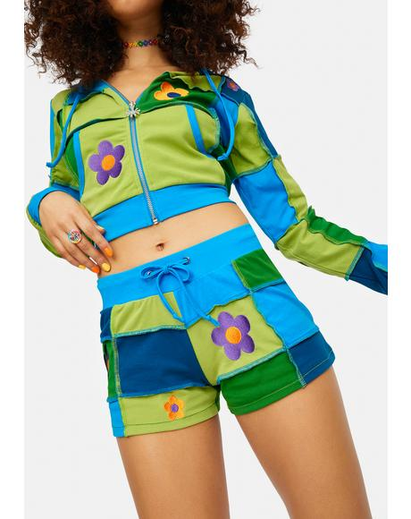 Later Days Patchwork Daisy Lounge Shorts