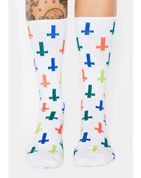 White Inversion Crew Socks
