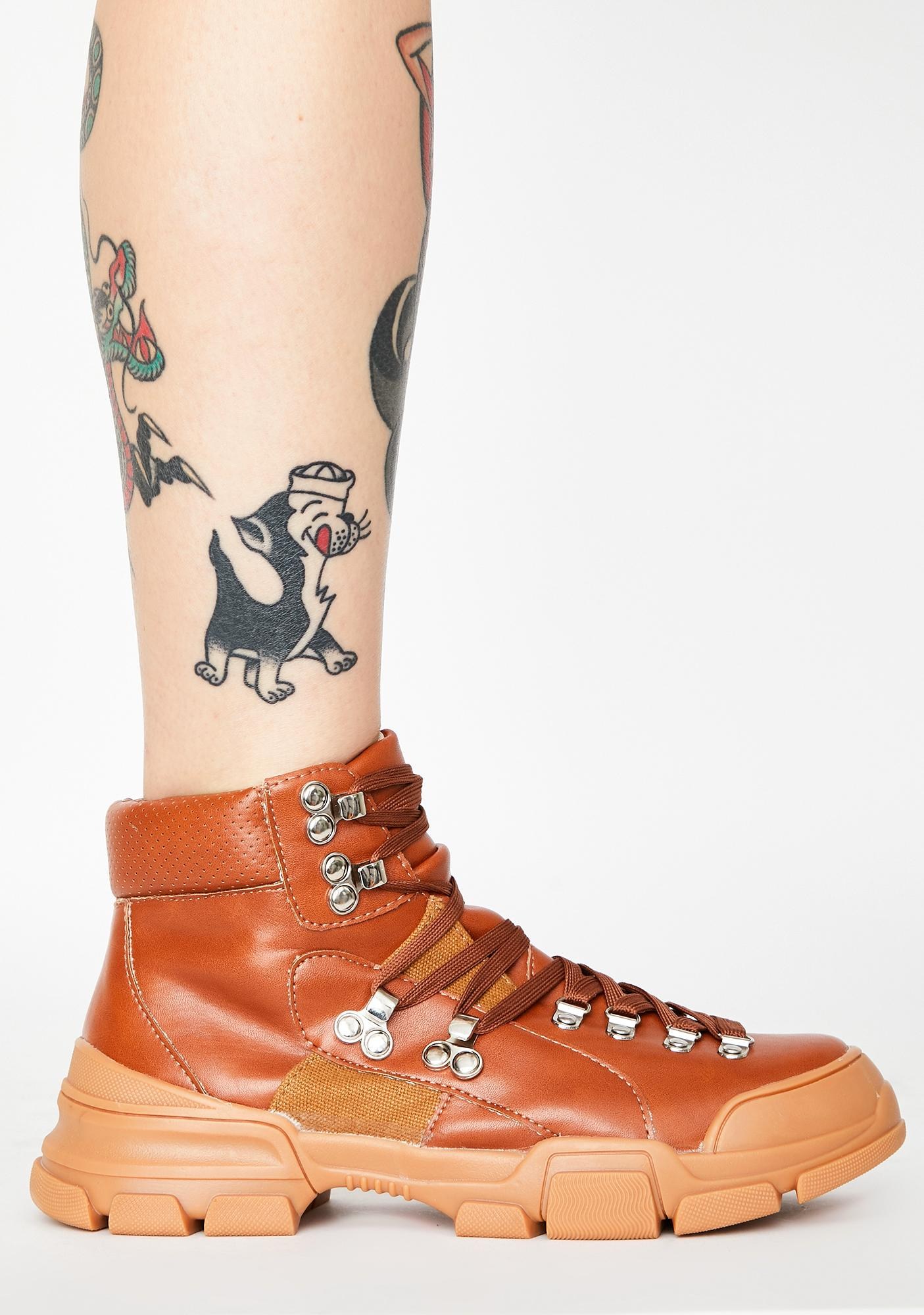 Copper Close Combat Lace Up Boots