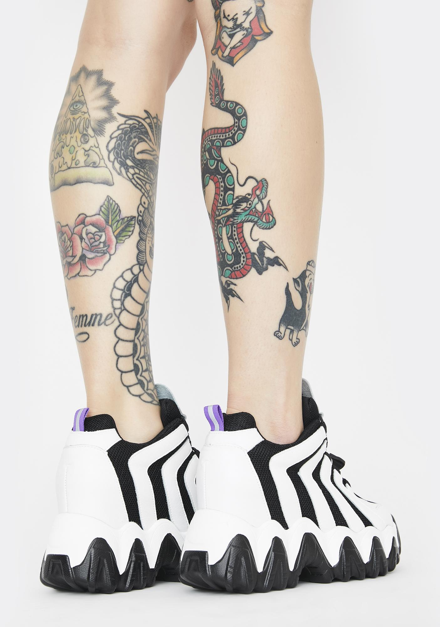 Anthony Wang Black Chevron Blackberry Platform Sneakers