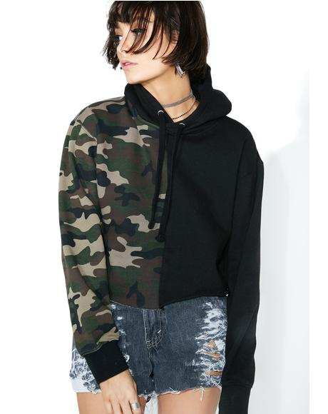 Reworked Camo Split Cropped Hoodie