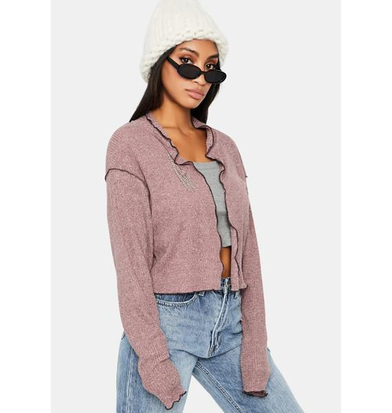 ZEMETA Pink Tie Up Cardigan