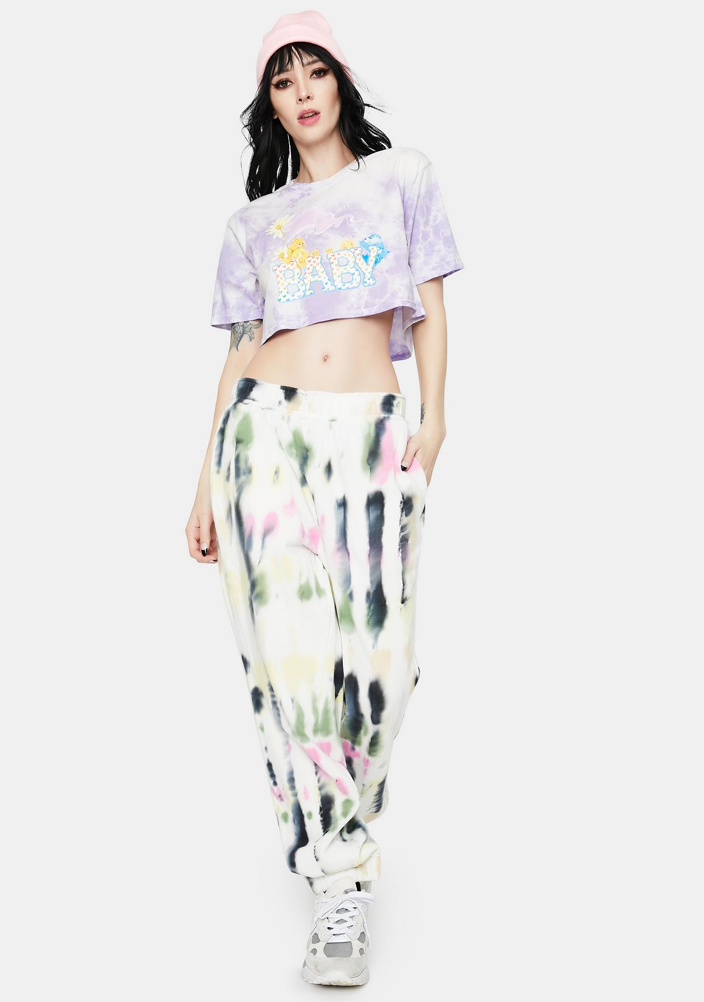 By Samii Ryan X Care Bears Baby Bear Tie Dye Crop Tee