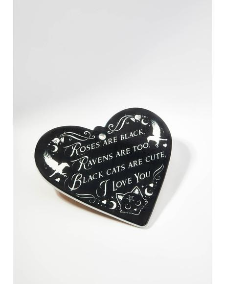 Roses Are Black Poetic Heart Trivet