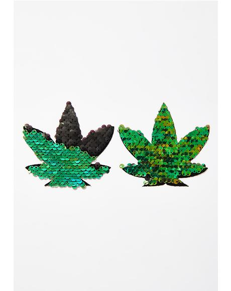 Green To Black Sequin Weed Leaf Pasties