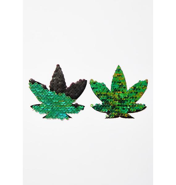 Neva Nude Green To Black Sequin Weed Leaf Pasties