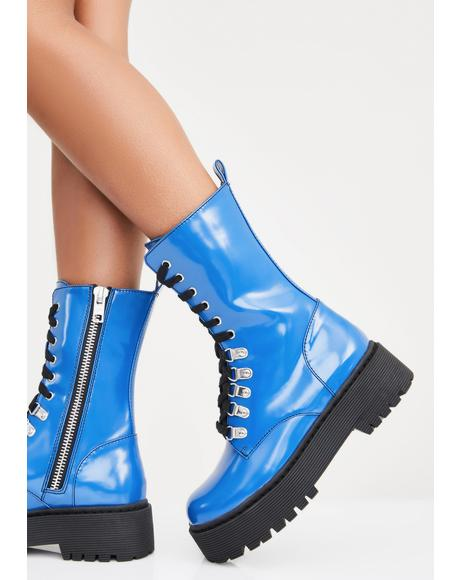 Sunday Blues Combat Boots