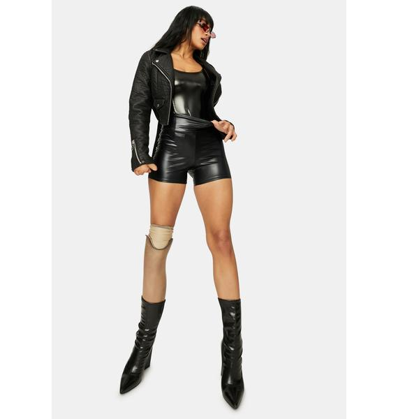 Top Notch Vegan Leather High Waist Biker Shorts