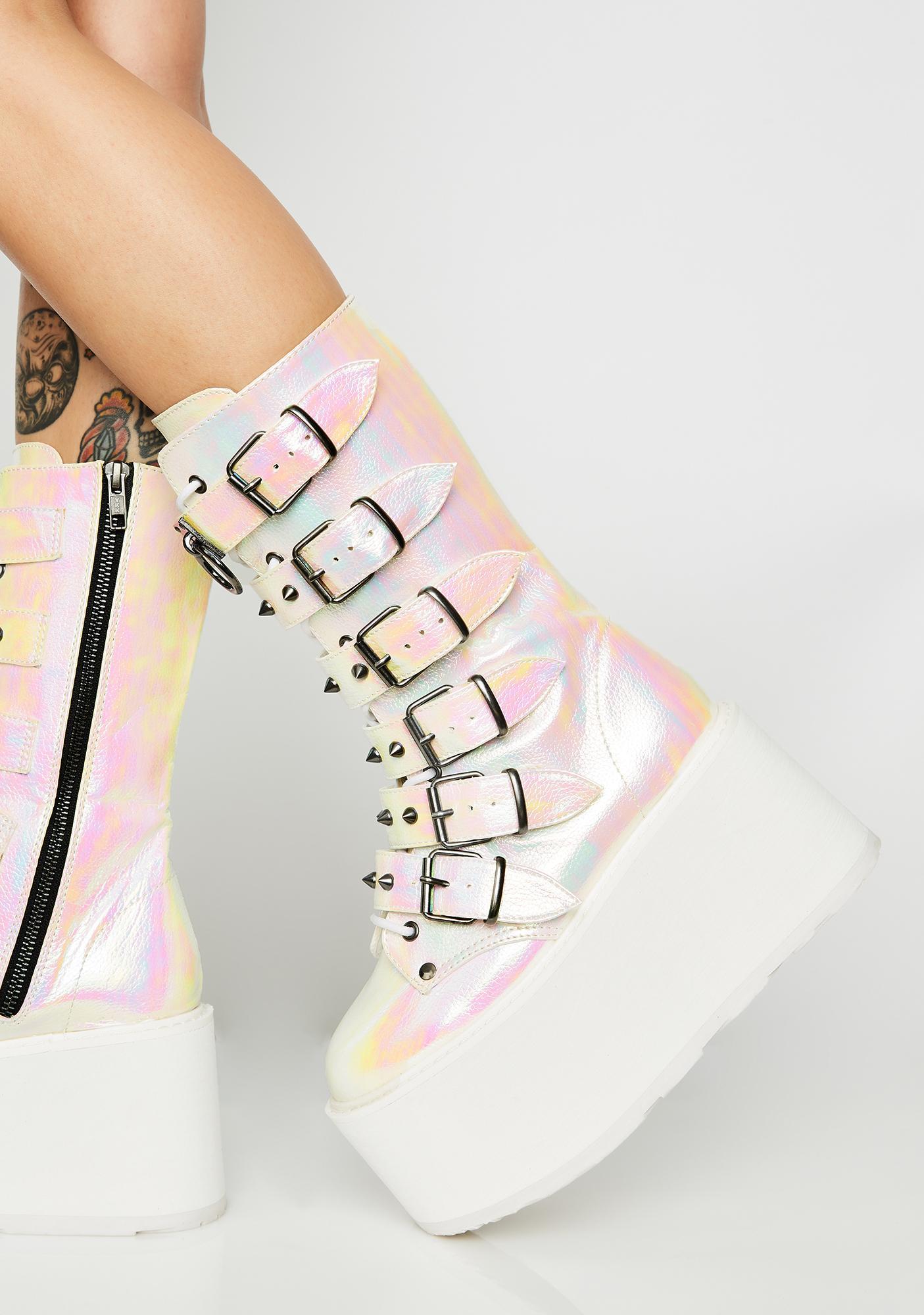 Demonia Pearlescent Prizm Heist Buckle Boots