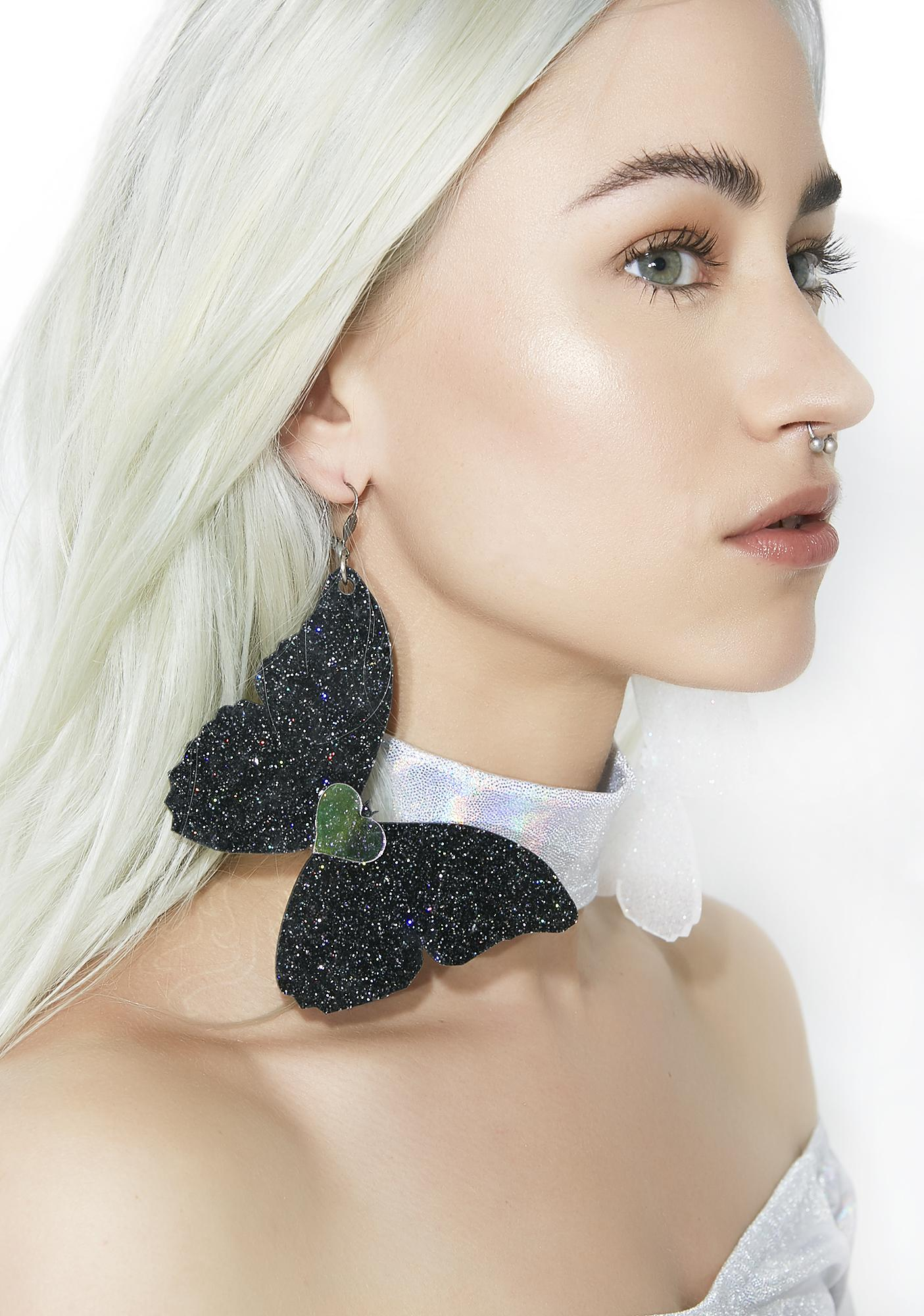 Marina Fini Glitter Butterfly Earrings
