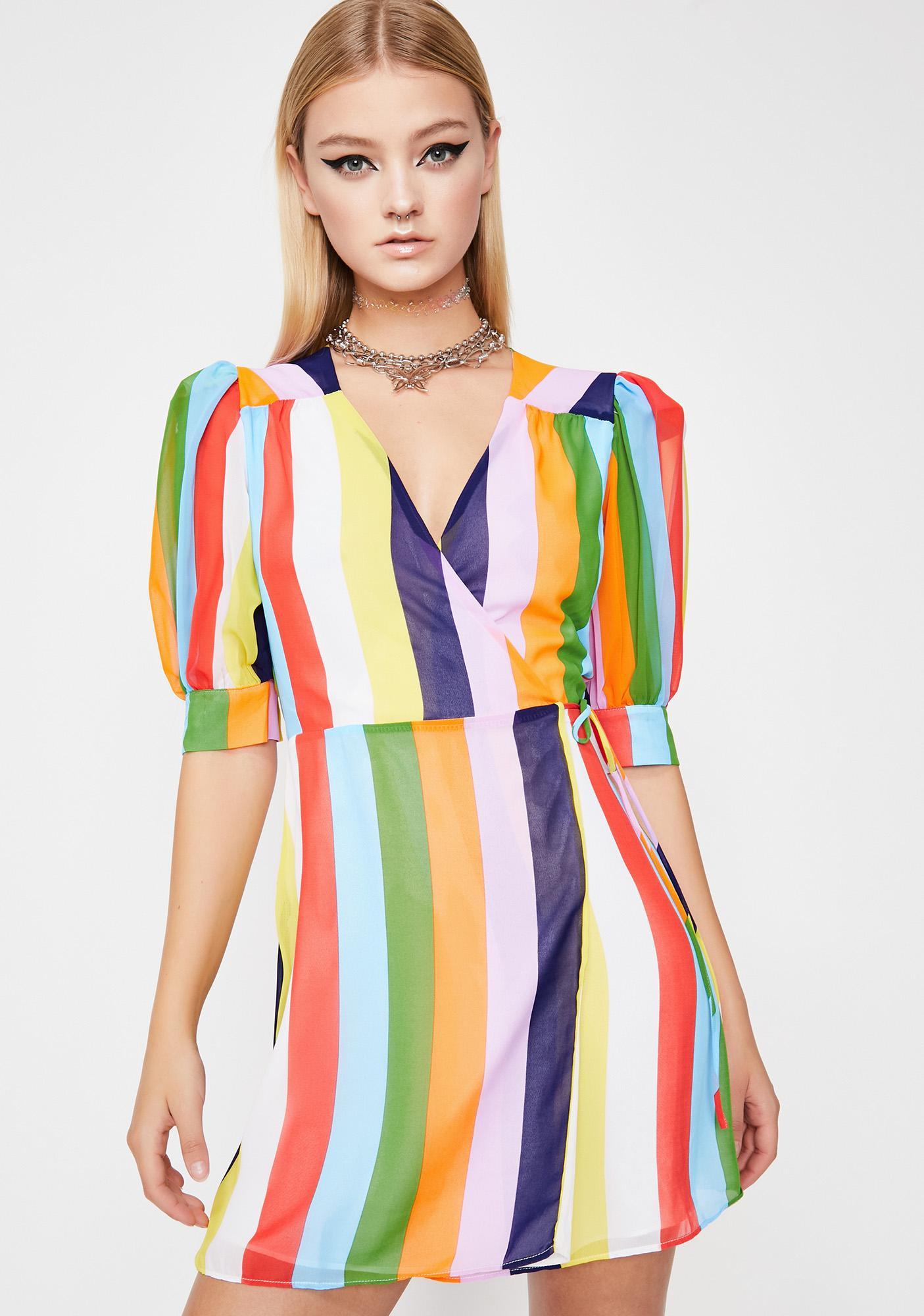 b616d26c516a Striped Wrap Mini Dress | Dolls Kill