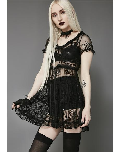 Shadow Kiss Lace Babydoll Dress