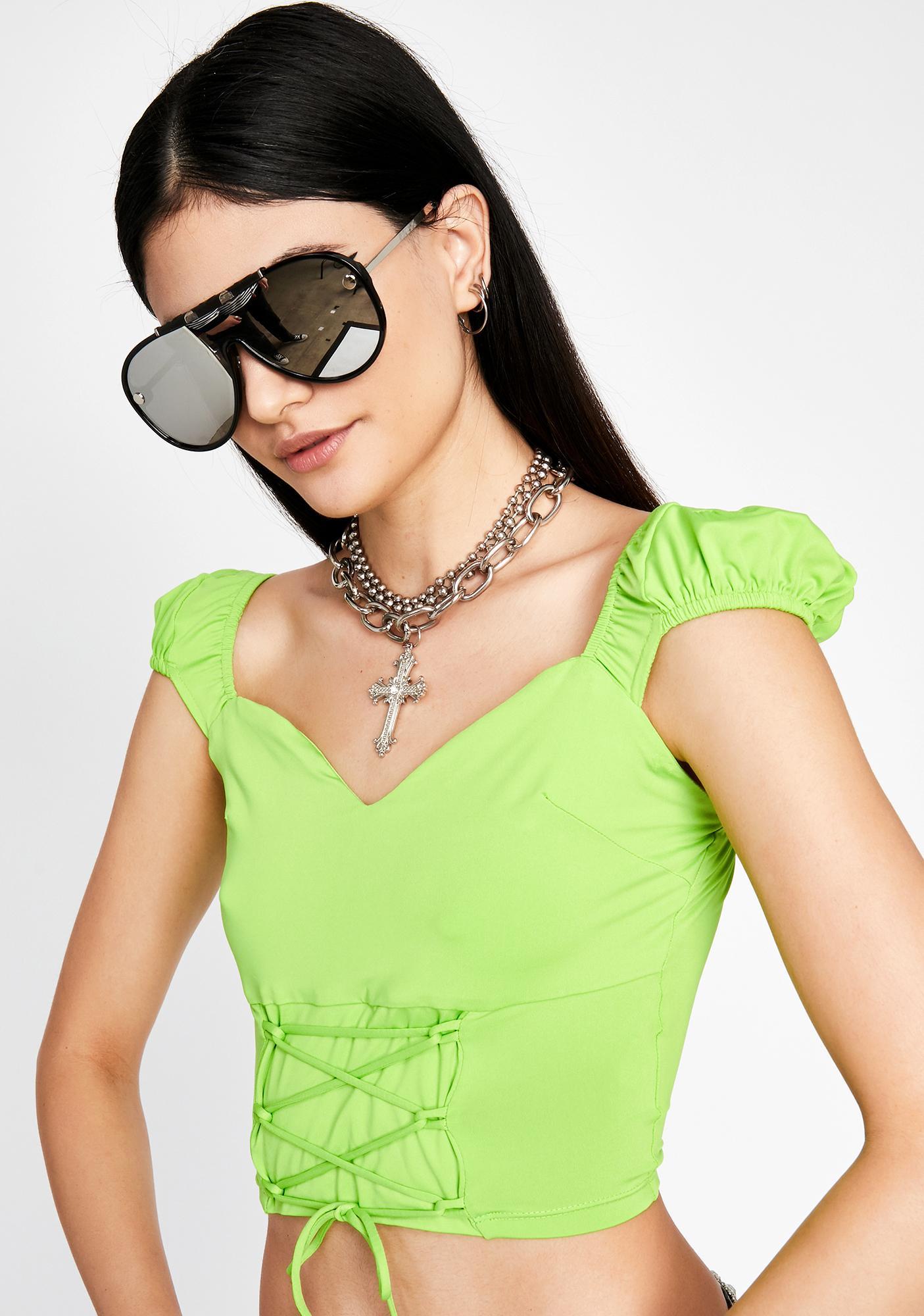 Trendy Heaux Lace-Up Top