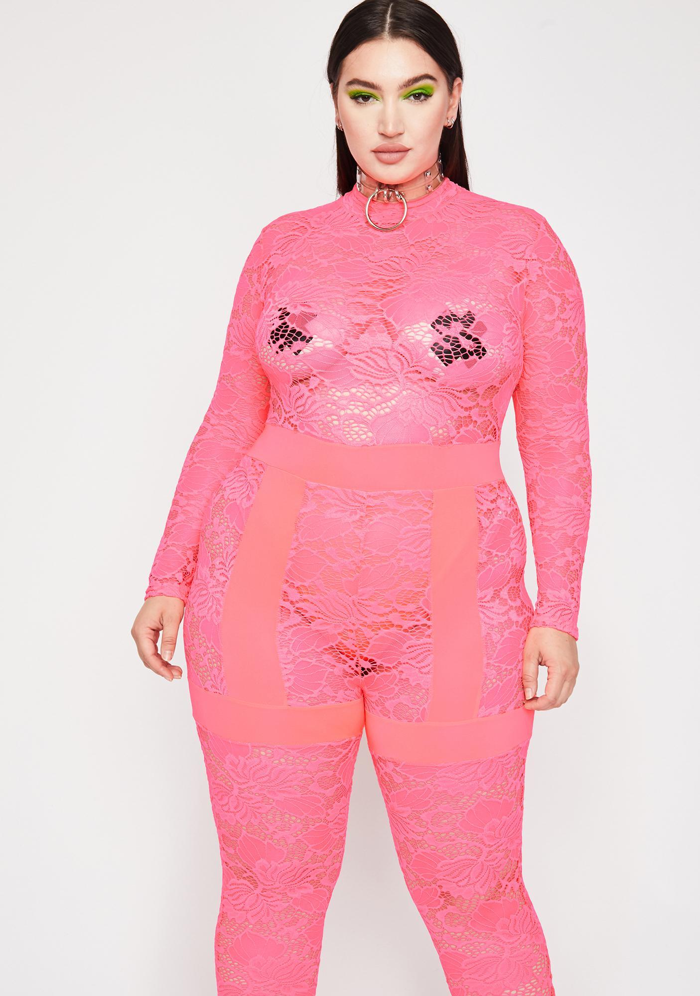 Coral Got Fifth Avenue Fever Lace Jumpsuit