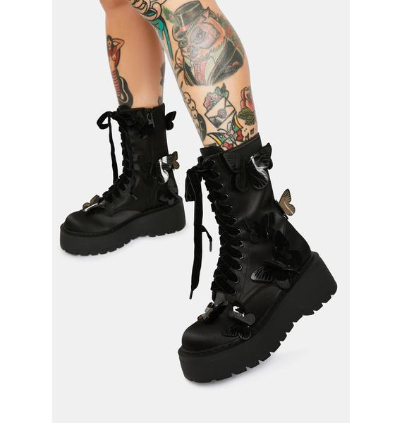 Current Mood Awaken The Night Butterfly Combat Boots