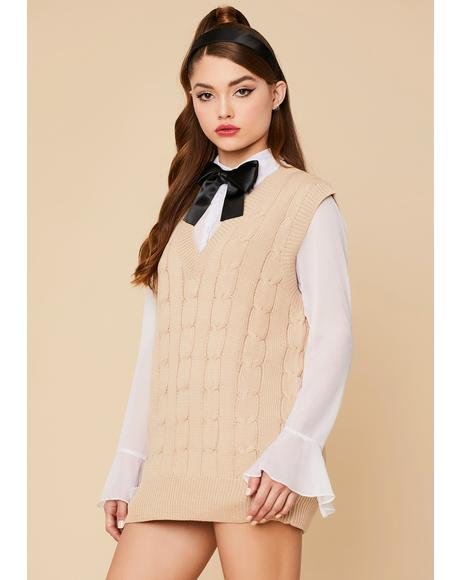 Oatmeal Wicked Smart Knit Sweater Vest