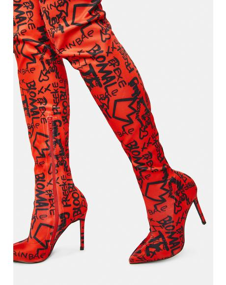 Cherry Airbrushed Off Duty Diva Thigh High Boots