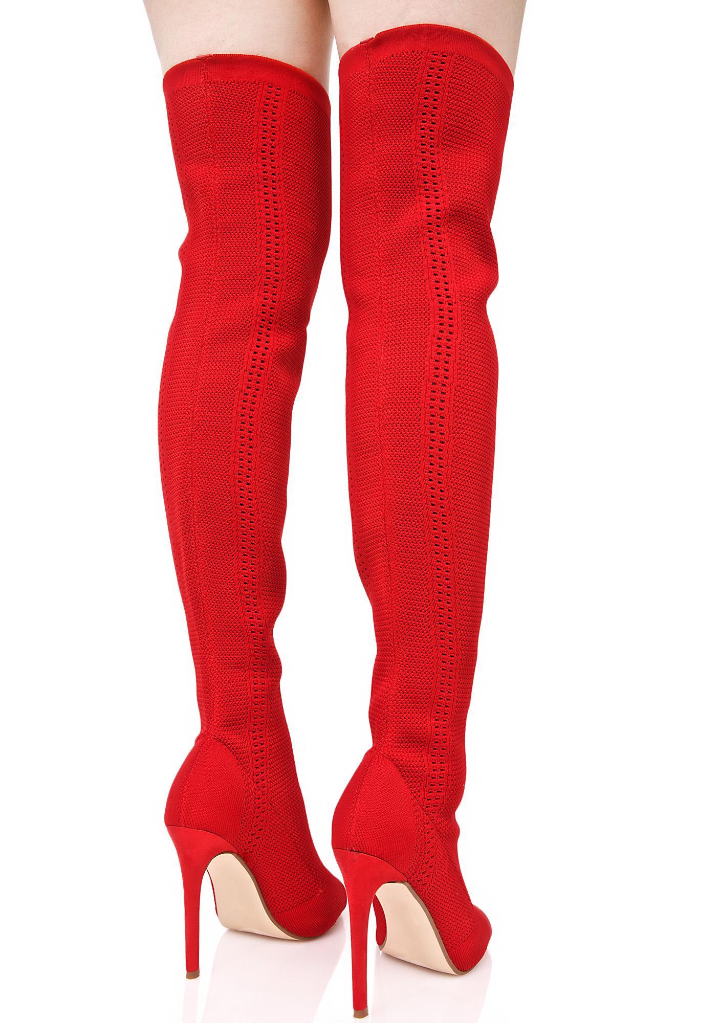 Heat Myth Thigh-High Sock Boots
