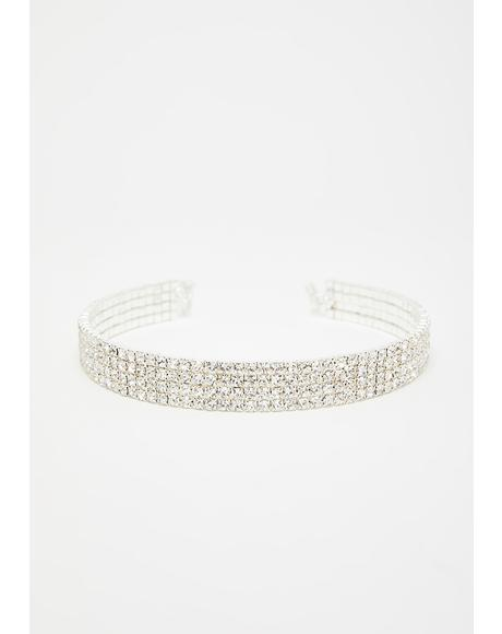 My Eyes Are Up Here Rhinestone Choker