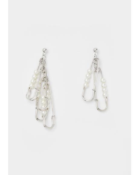 Pearl Sin Squad Safety Pin Earrings