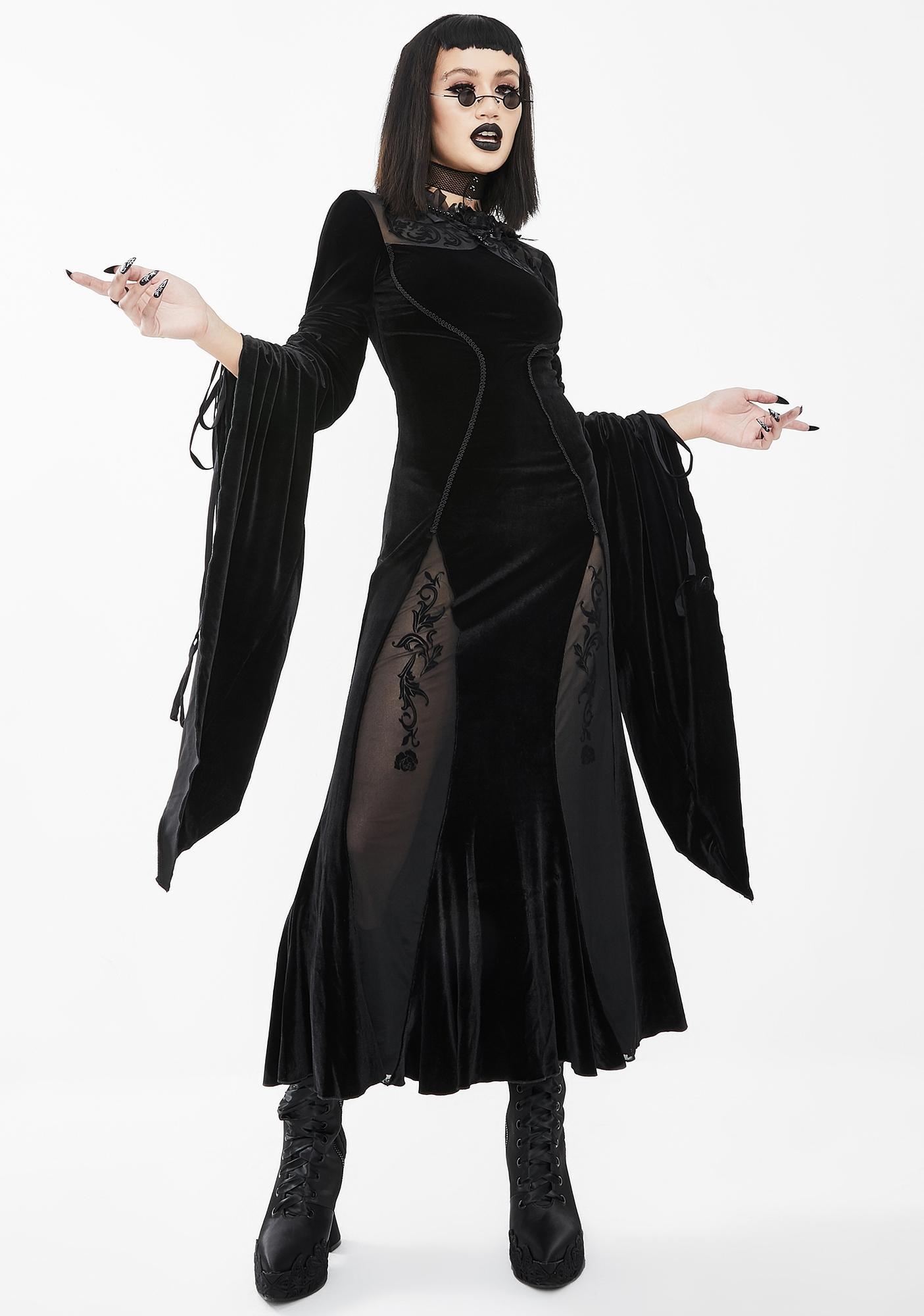 Eva Lady Black Bell Sleeve Velvet Midi Dress