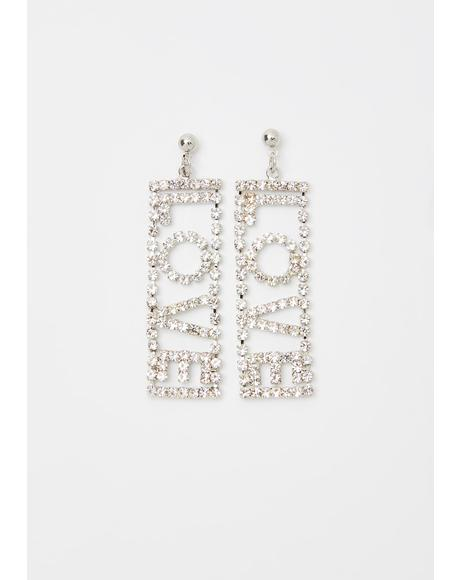 Love Is Love Rhinestone Earrings