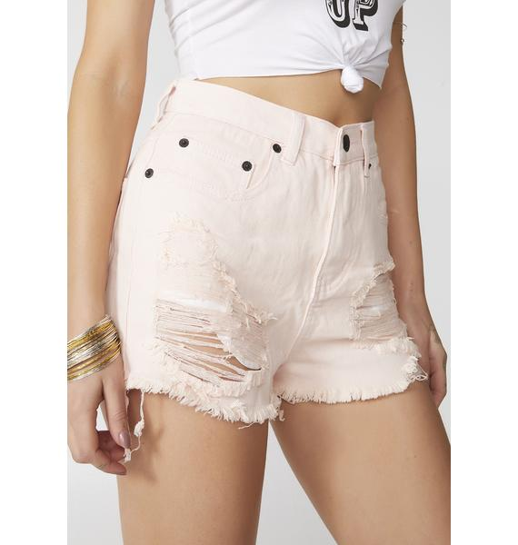 Blush Got Me Tempted Denim Shorts