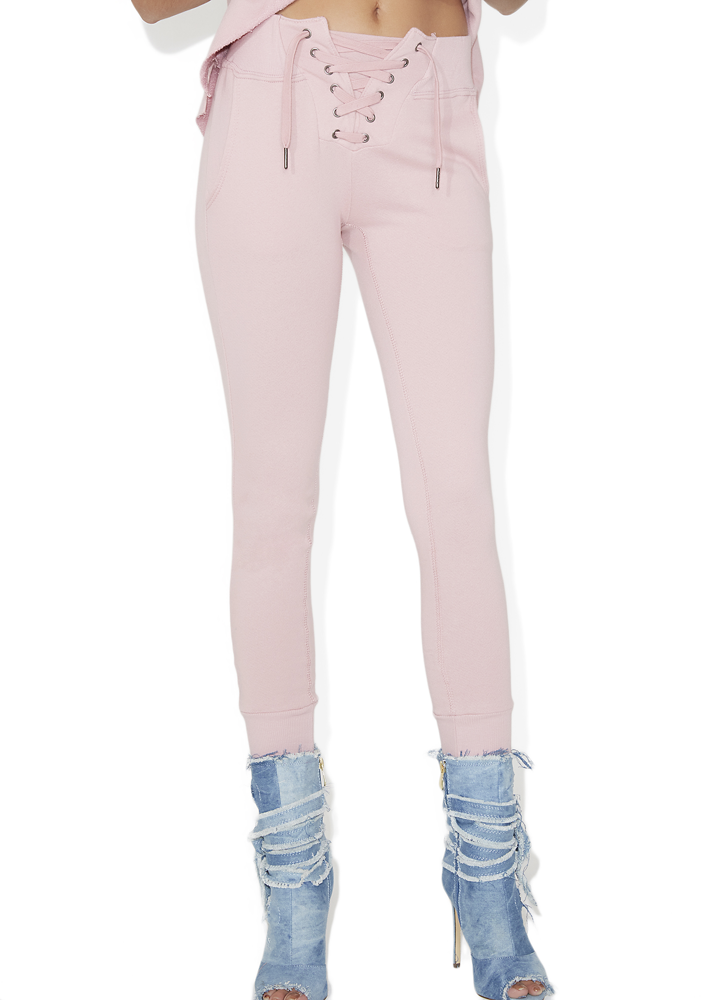 Lace Up Fitted Jogger Sweatpants Pink