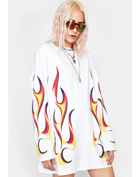 Icy Spitfire Shorty Shirt Dress