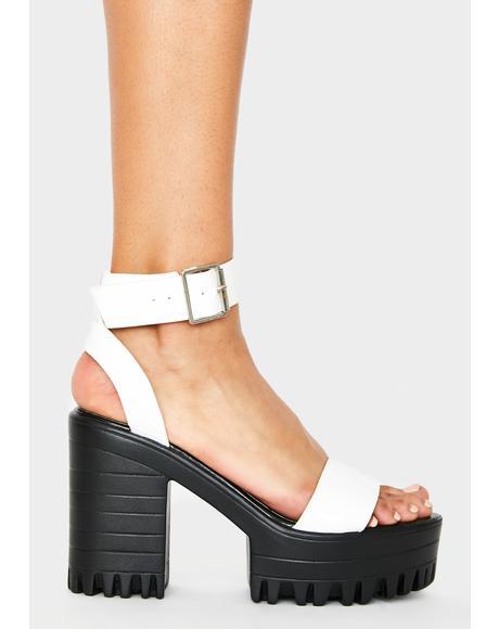 White Avenue Platform Heels