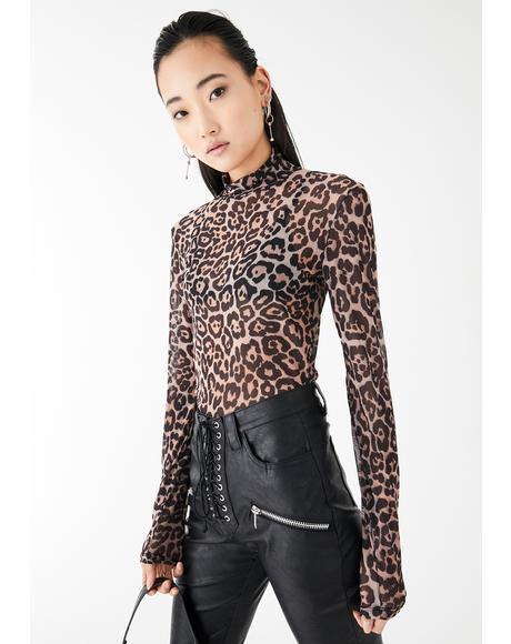 Leopard Dangerous Debutante Mesh Top