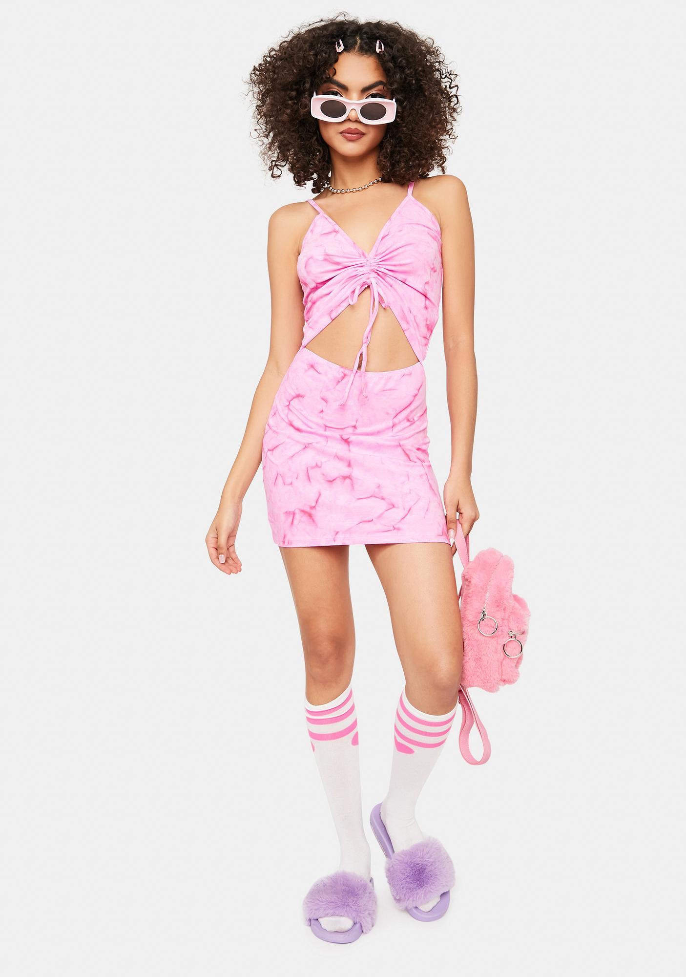 Cute Mistake Pink Tie Dye Ruched Mini Dress