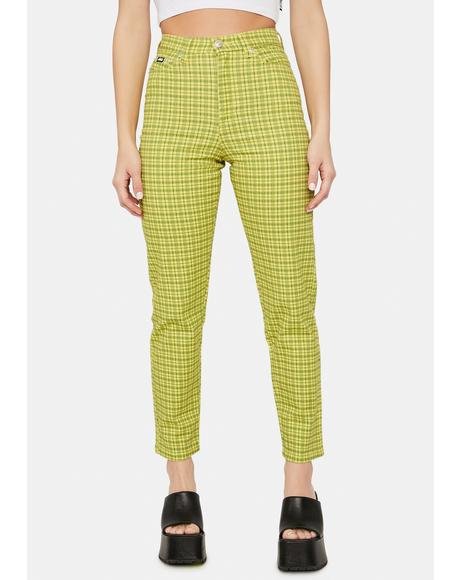 Lime Green Checkered Denim Mom Jeans