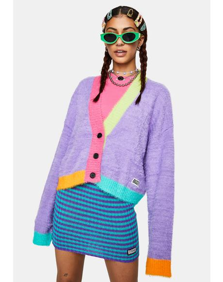 Nerd Fuzzy Colorblock Cardigan