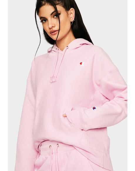 Pink Reverse Weave Pullover Hoodie