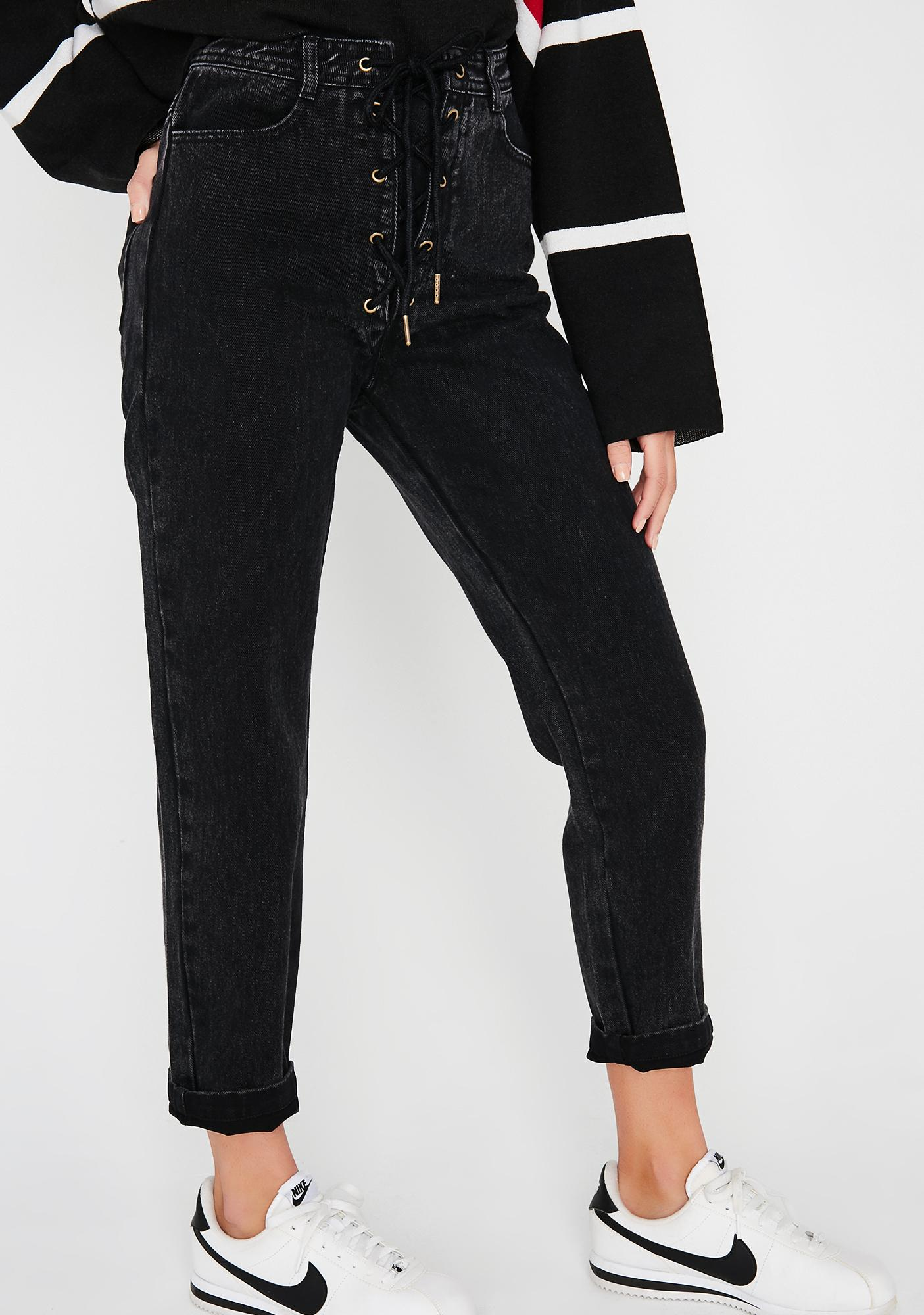 Midnight Throwback Lace-Up Jeans