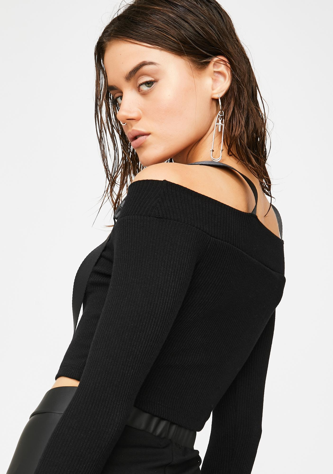 Plugged NYC Black Buckle Up Crop Top
