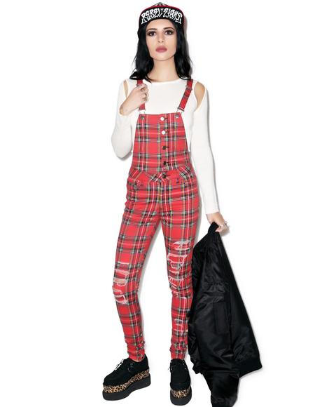 Ripped Knee Tartan Overall
