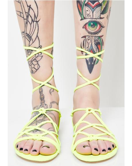Neon Temptation Lace Up Sandals