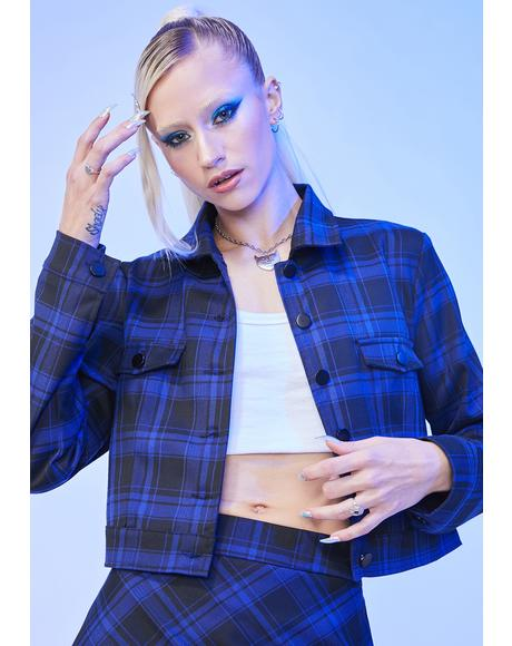 A Blue World Plaid Crop Jacket
