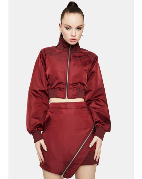 Wine Ring The Alarm Asymmetrical Zipper Skirt