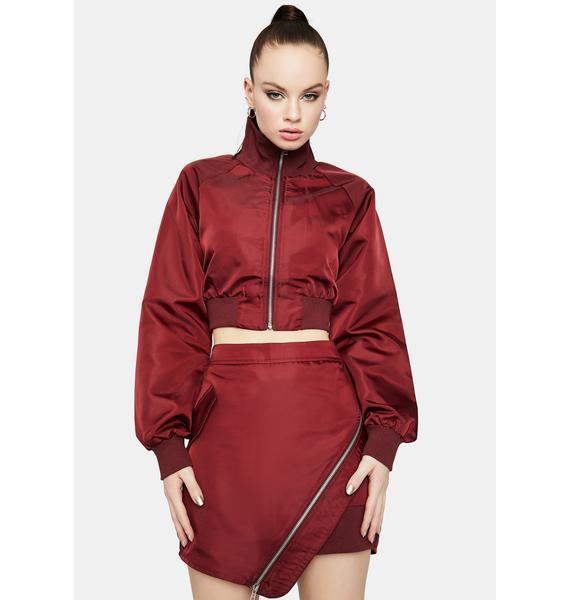 Wine Ring The Alarm Asymmetrical Zipper Skirt