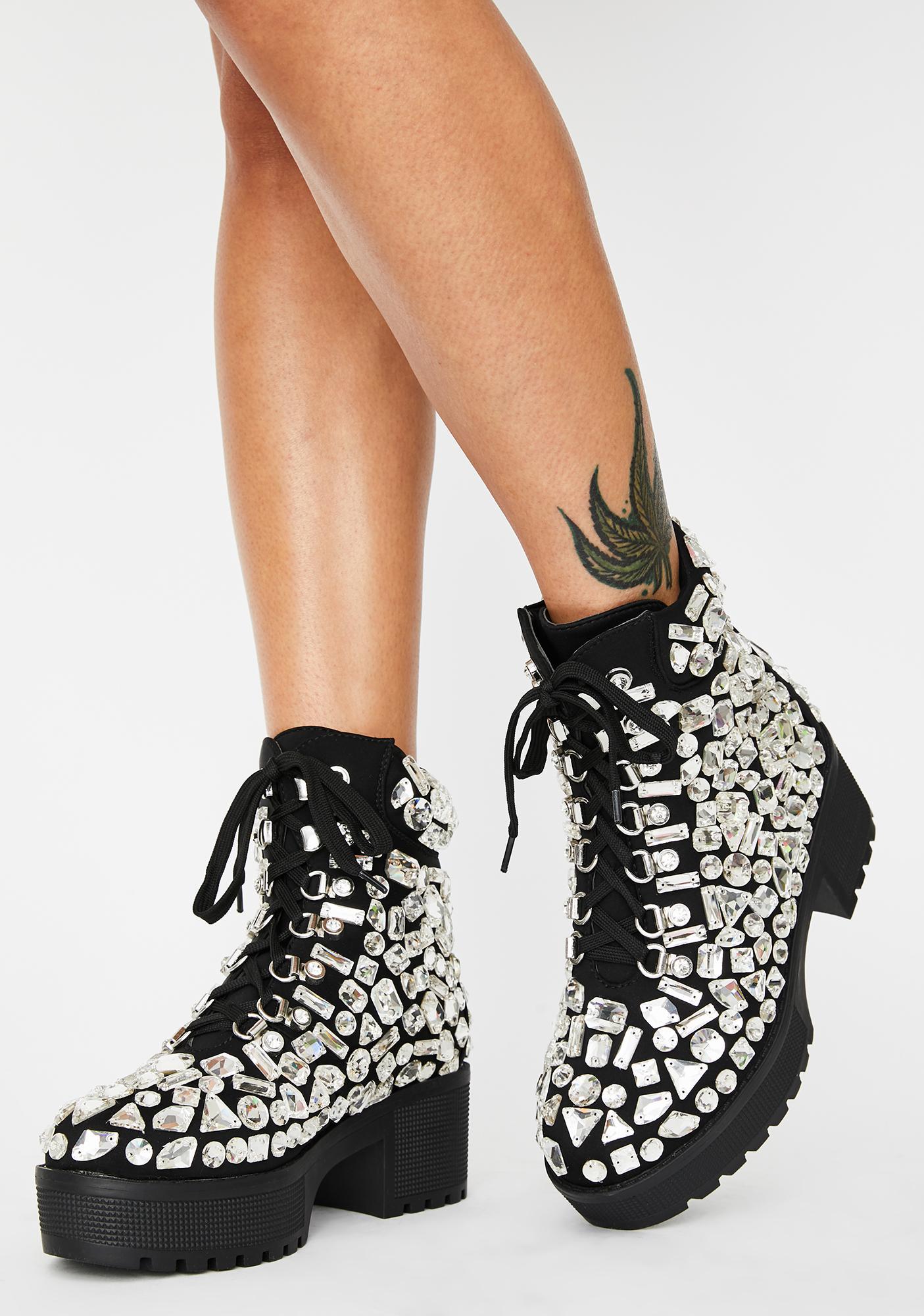 AZALEA WANG York Rhinestone Boots
