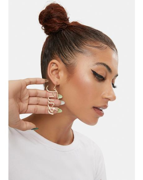 Golden Rude Mood Text Drop Earrings
