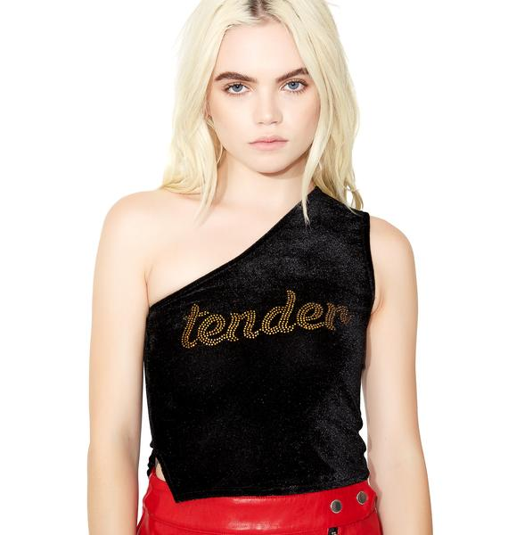 O Mighty Tender Heart Velvet Crop Top