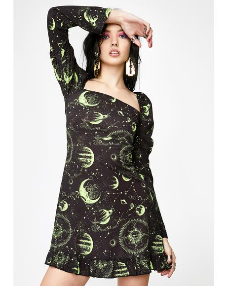 Moon Print Square Neck Dress