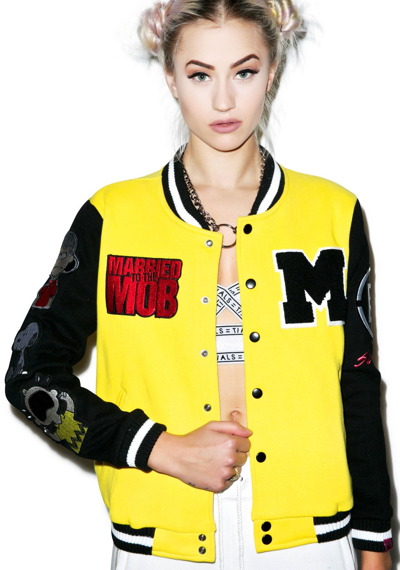 Married to the Mob Peanuts Varsity Jacket With Patches