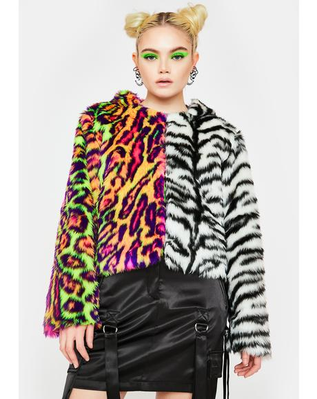 Tiger Leopard Split Faux Fur Jacket