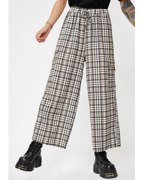 Check Print Wide Leg Trousers